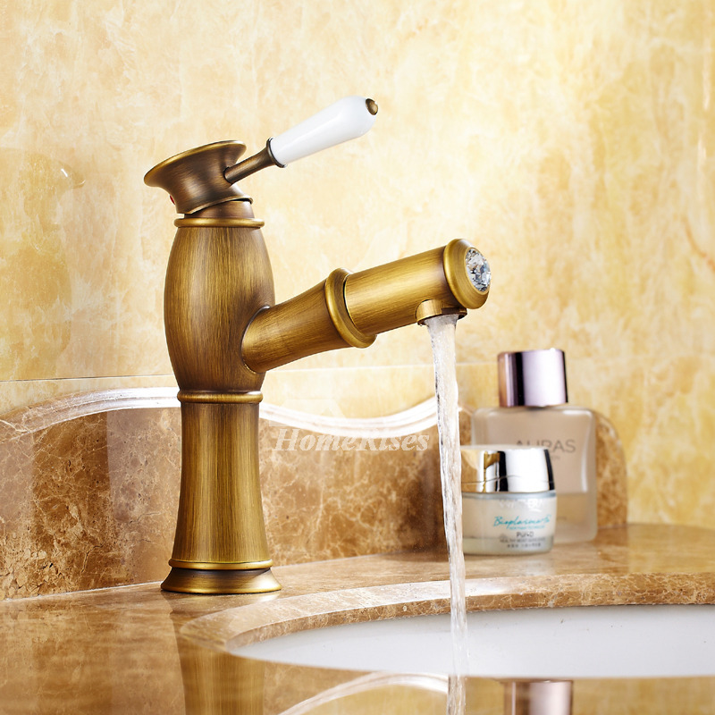 Single Hole Bathroom Faucet Antique Brass Centerset Pull-Out