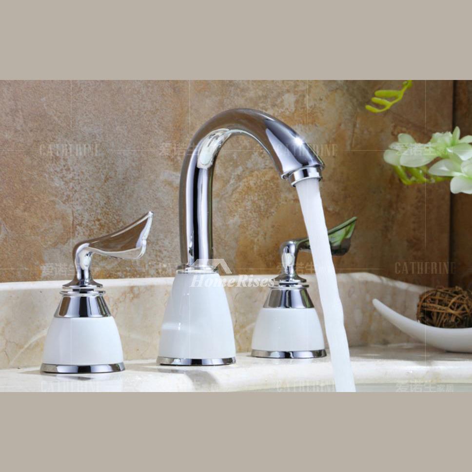 3 Hole Bathroom Faucet Chrome 2 Handle Brass Bathtub Ceramic