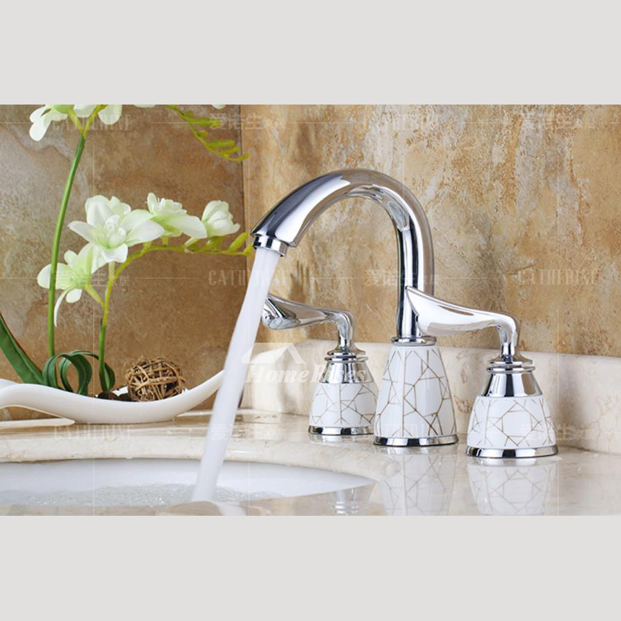 Widespread Bathroom Faucet Chrome 2 Handle Silver Ceramic