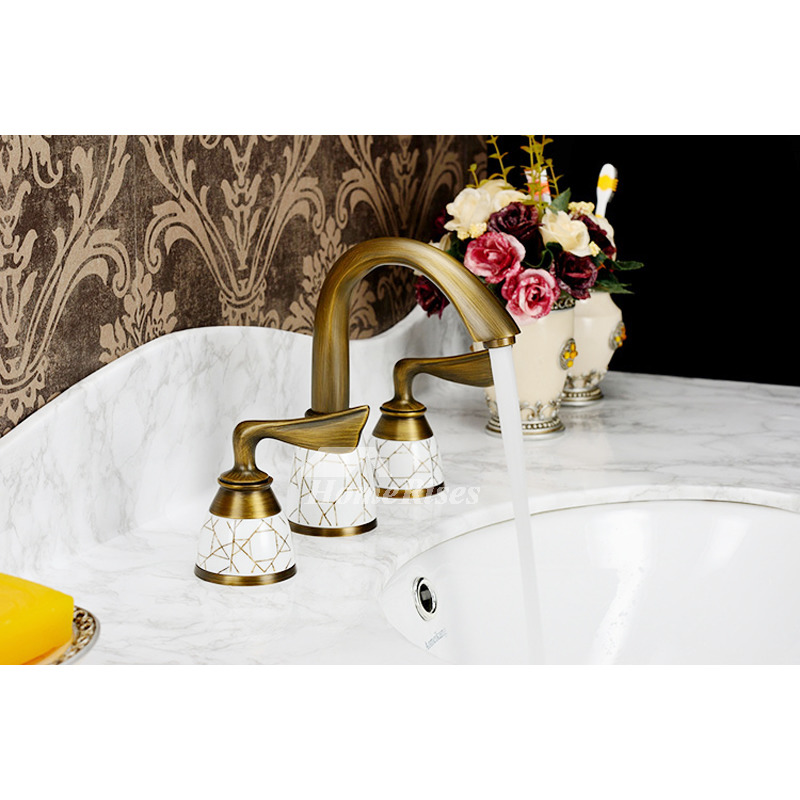 Picture of: Widespread Antique Brass Ceramic Unique Bathroom Faucets Gold