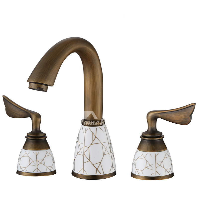 Widespread antique brass ceramic unique bathroom faucets gold Antique brass faucet bathroom