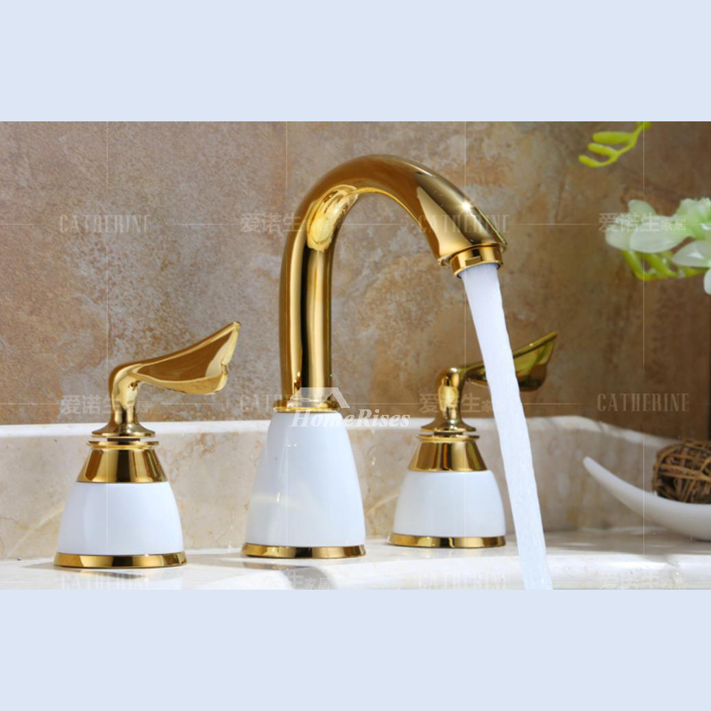 2 Handle Bathroom Faucet Gold Ceramic 3 Hole Polished Brass Bathtub