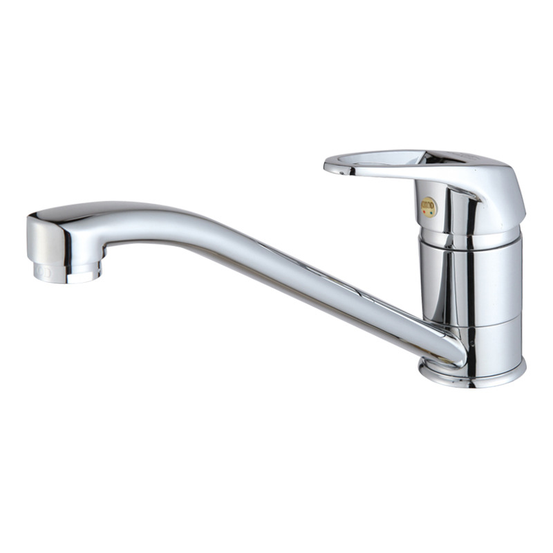 Silver Kitchen Faucet Simple Brass Single Handle Vessel Chrome