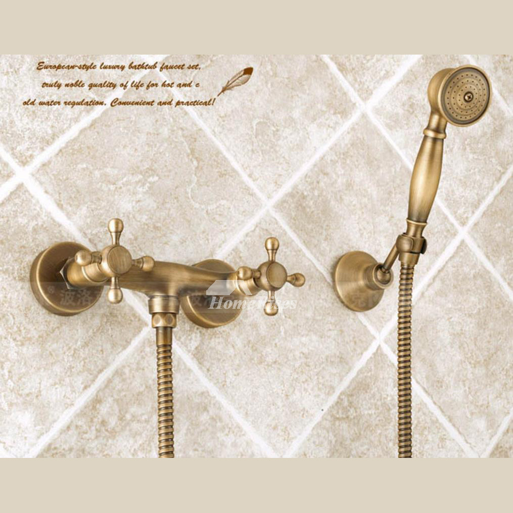 Solid Wall Mount Antique Brass Bathtub Faucet Gold Cross Handle