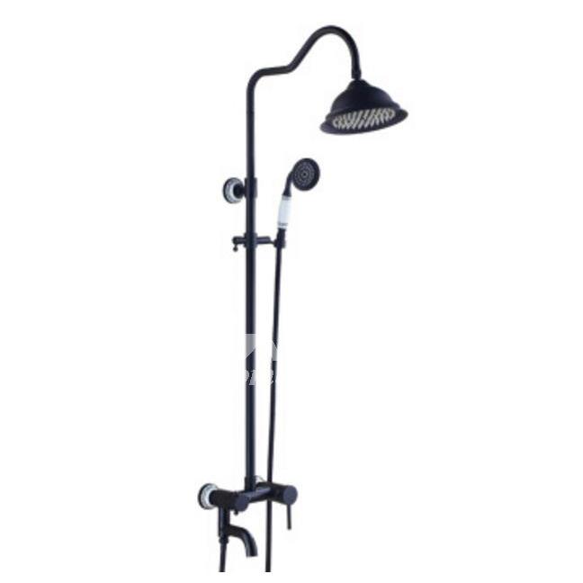 black shower head and faucet.  Designer Oil Rubbed Bronze Wall Mount Black Shower Faucet