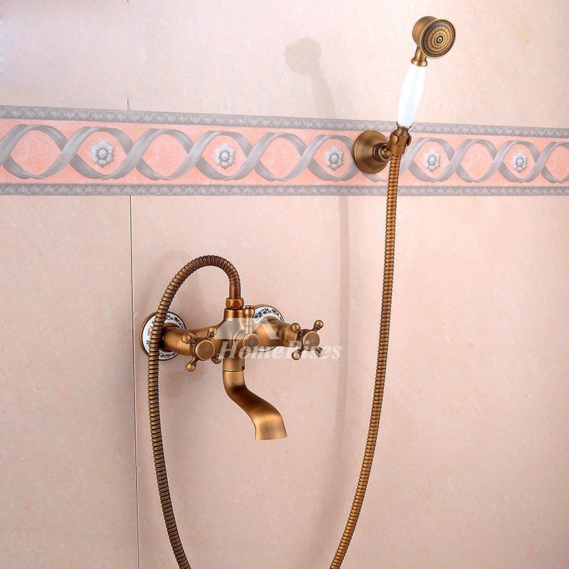 Golden Antique Brass Vintage Two Handles Shower Faucets