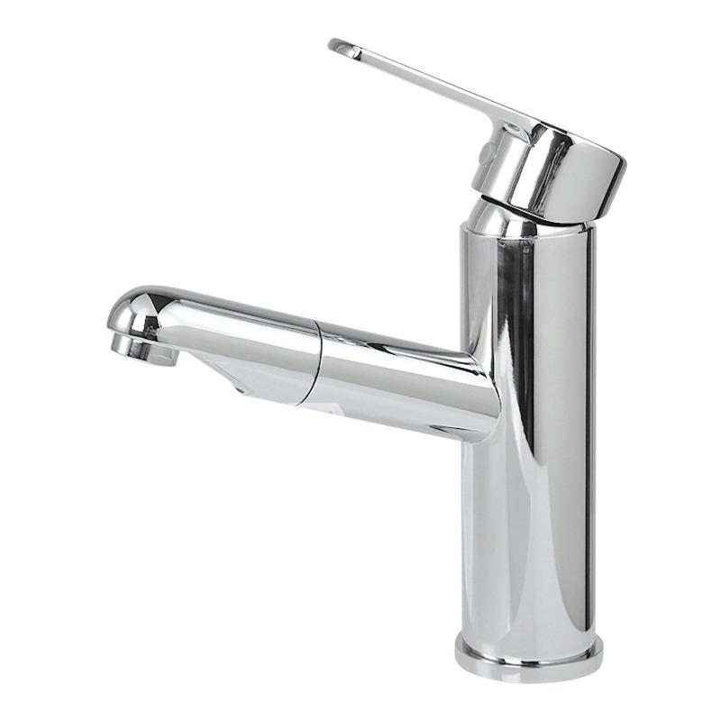 Bathroom Faucet With Sprayer Silver Single Hole Chrome Vessel