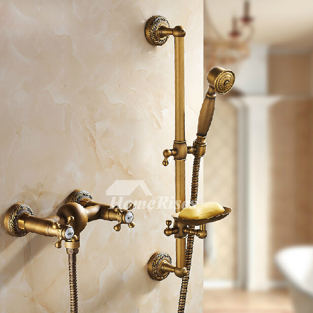 Antique Brass Wall Mount Shower Fixtures Gold Cross Handle