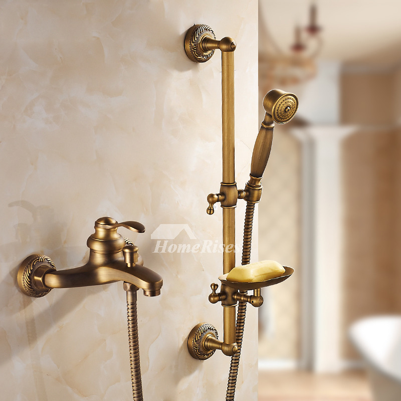 Antique Brass Wall Mount Brushed Gold Shower Fixtures Bathroom
