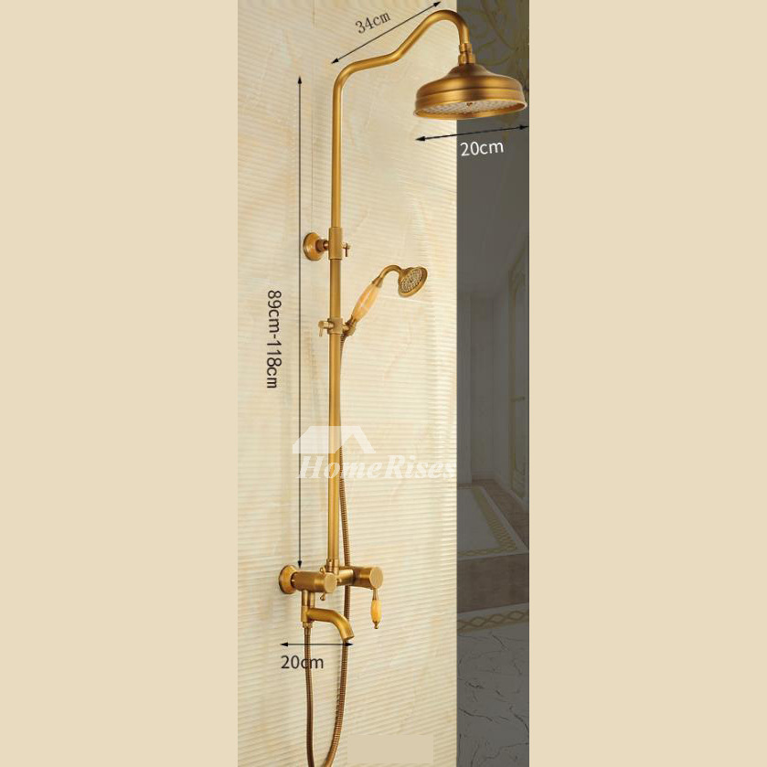 Vintage Antique Brass Wall Mount Shower Faucet Single Handle Rustic