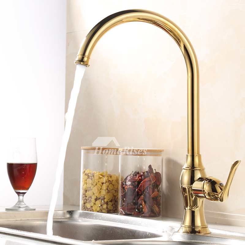 Luxury Kitchen Faucets Gooseneck Polished Brass Vessel Single Handle