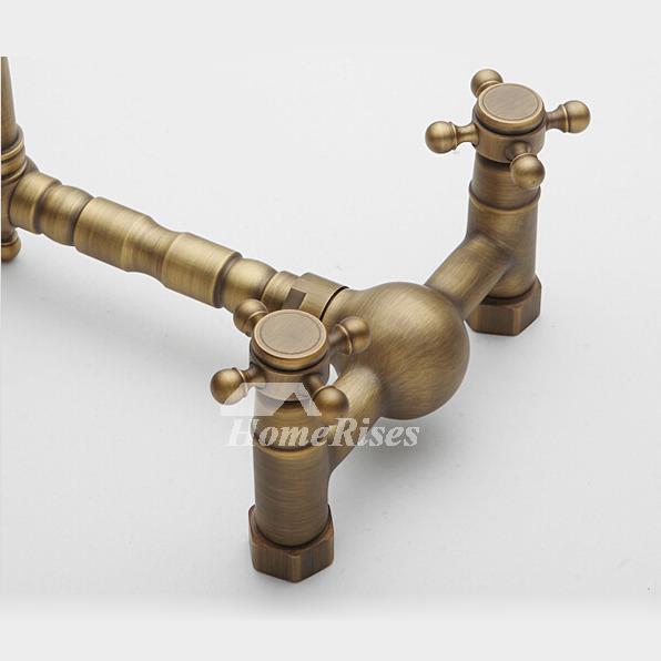 antique brass faucet. 2 Hole Kitchen Faucet Antique Brass Wall Mount Cross Handle W
