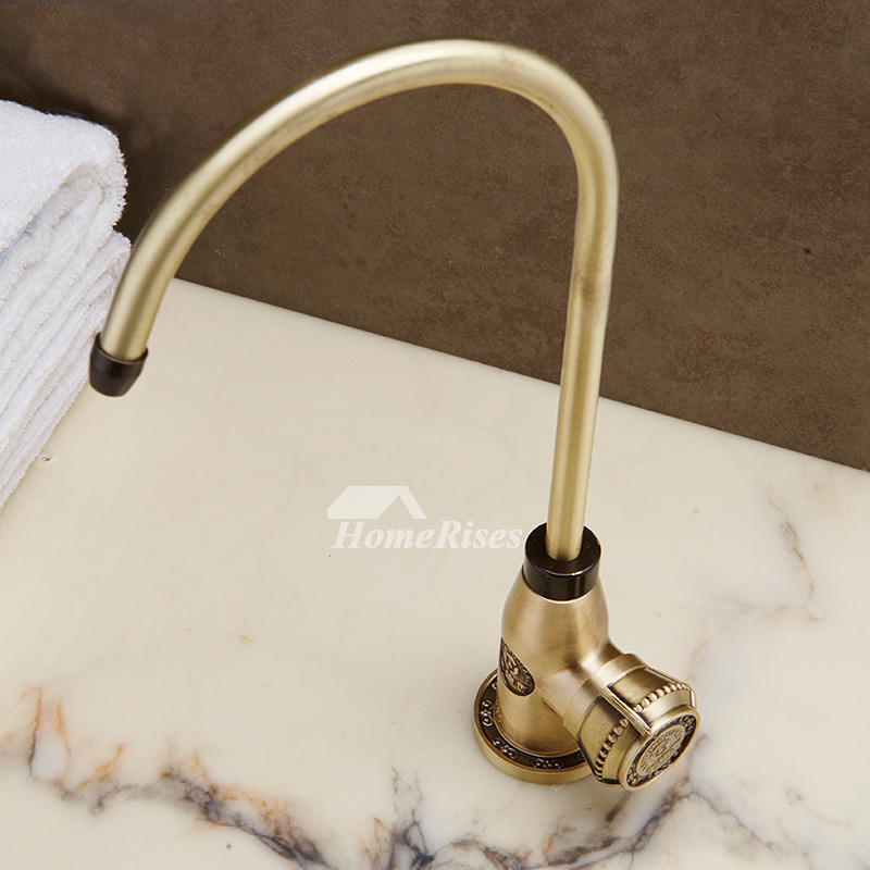 Country Kitchen Faucets Gooseneck Carved Antique Brass Gold Gooseneck 1 Hole