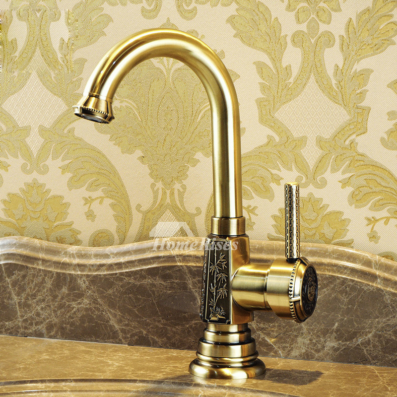 Bathroom Faucets Carved Single Handle Gooseneck Antique Brass Gold