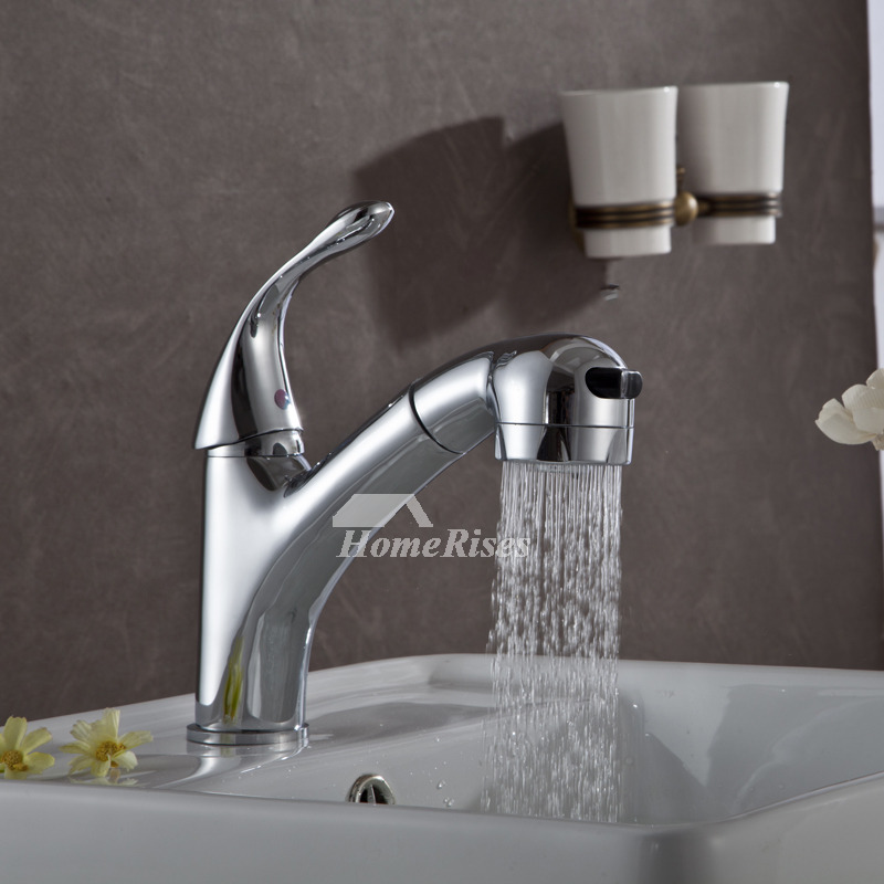 Bathroom Faucet With Sprayer Pull Out Brass Chrome Modern
