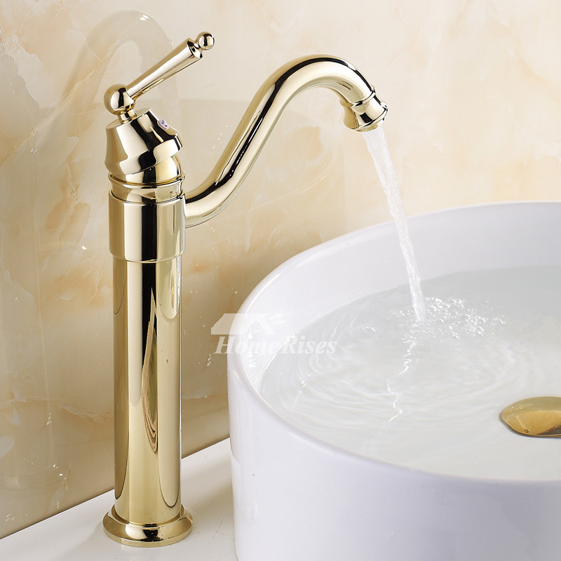 Polished Brass Bathroom Faucet Gold Luxury Brass Vessel Rotatable