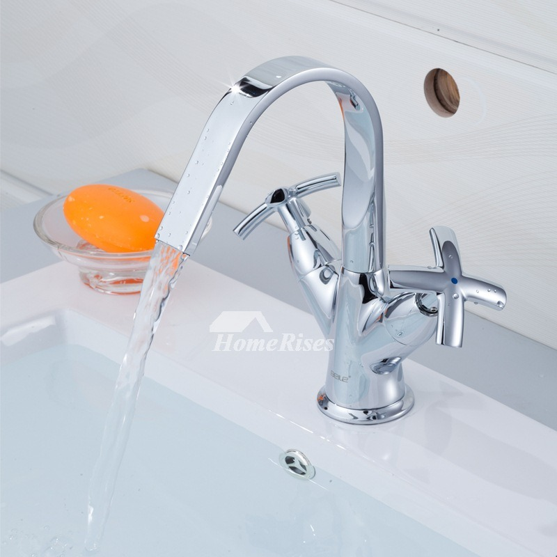 Waterfall Type Bathroom Faucets: Waterfall Bathroom Faucet Two Cross Handle Silver