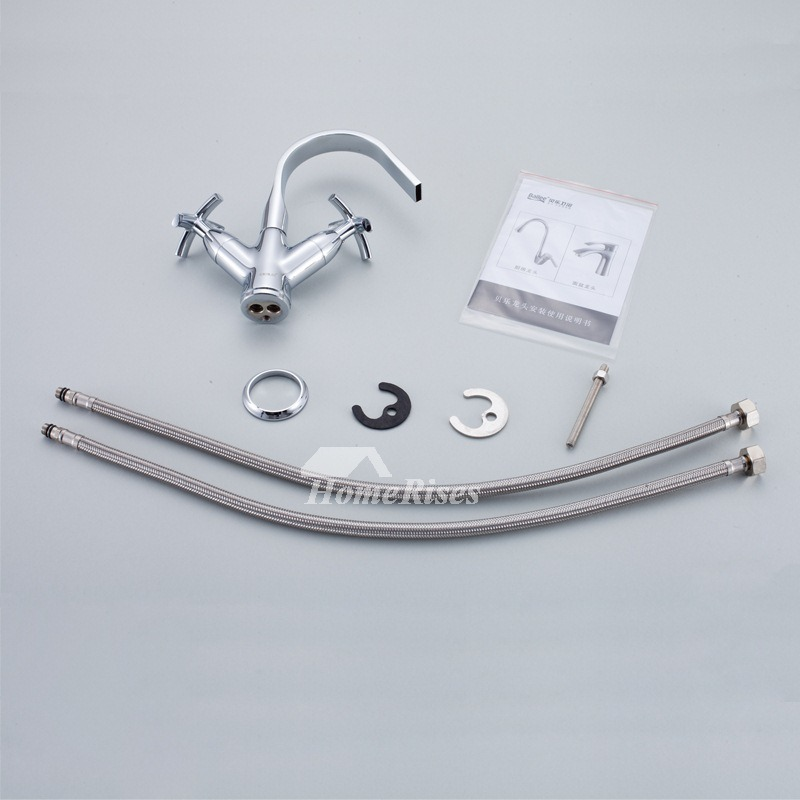 Waterfall Bathroom Faucet Two Cross Handle Silver Centerset Brass