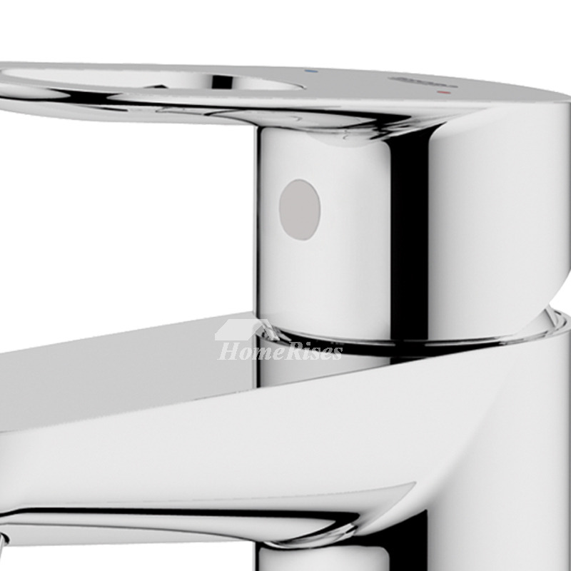 Silver Bathroom Faucets Single Handle Brass Chrome Vanity Solid - Chrome and brass bathroom fixtures