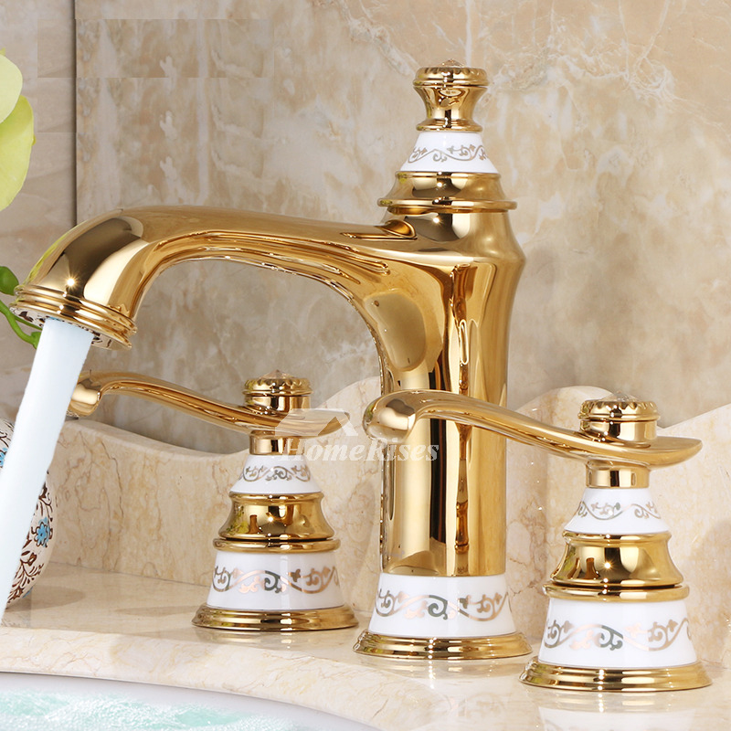 Luxury Bathroom Faucets Polished Brass Widespread 2 Handle