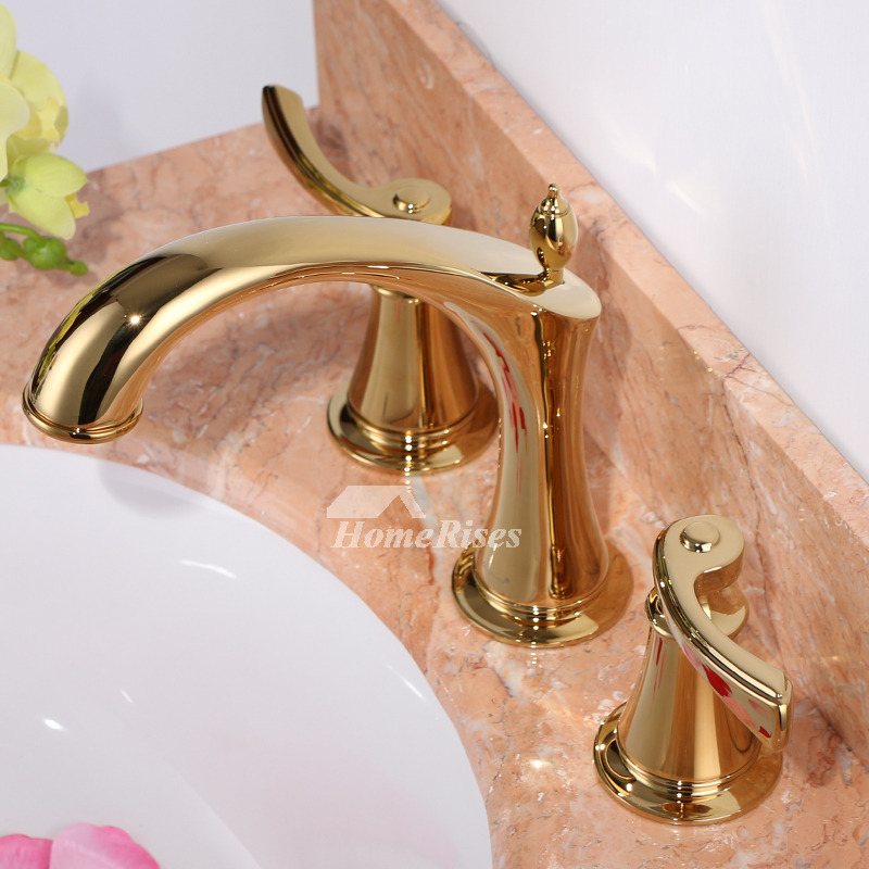 Fancy Bathtub Faucets Luxury Polished Brass Widespread 3 Hole Gold