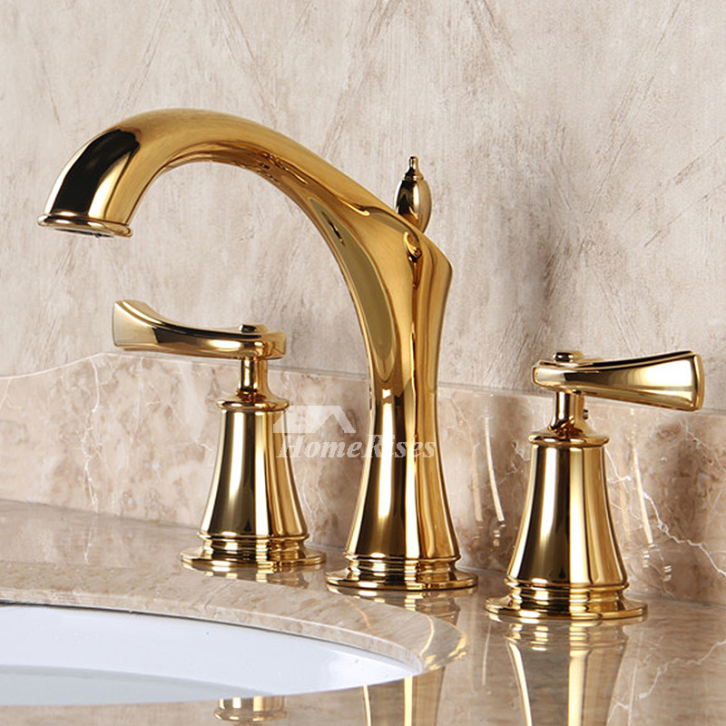 Fancy bathtub faucets luxury polished brass widespread 3 hole gold for Polished gold bathroom faucets