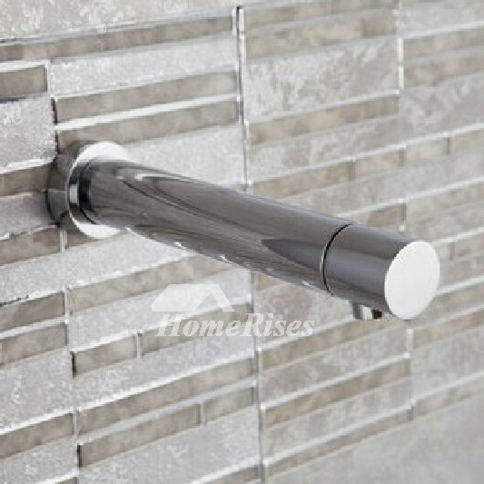 Commercial Bathroom Faucets Touchless Wall Mount Silver Brass