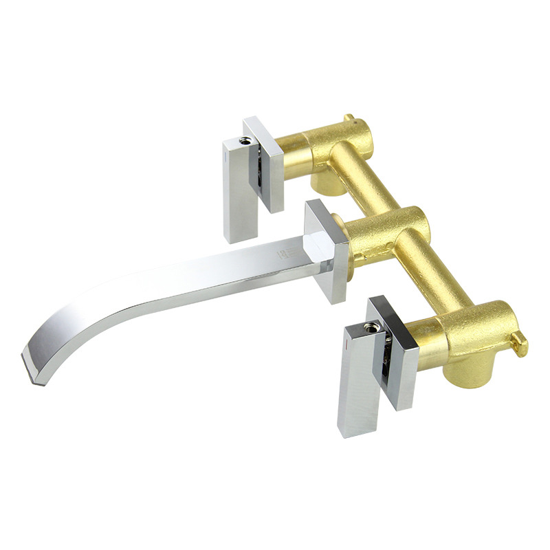 wall mount bathroom faucet 2 handle silver chrome brass modern - Wall Mount Bathroom Faucet