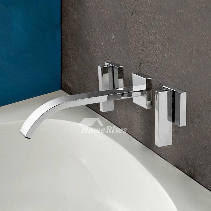 Wall Mount Bathroom Faucet 2 Handle Silver Chrome Brass Modern