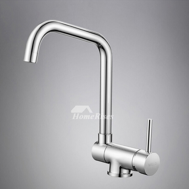 Single Hole Kitchen Faucet Square Chrome Top Rated Quality