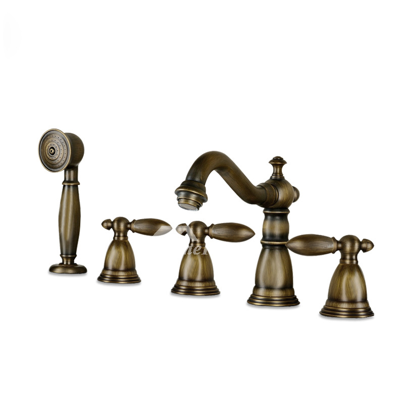 three Handles Antique Bronze Brown contemporary Tub Faucets
