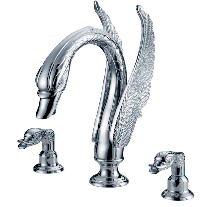 Widespread Bathroom Faucet Brass Chrome Chrome 2 Handle Silver Toilet Modern