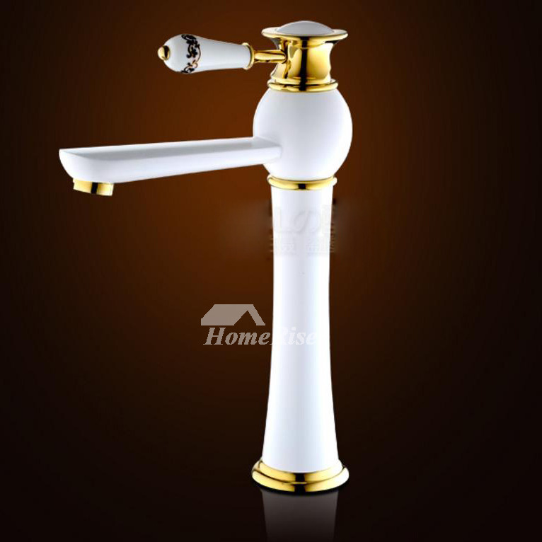 Painting vintage White Single Handle Bathroom Sink Faucets