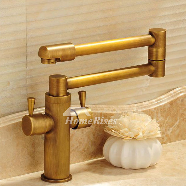 Antique Brass Gold Folding Gold Bathroom Sink Faucets Folding