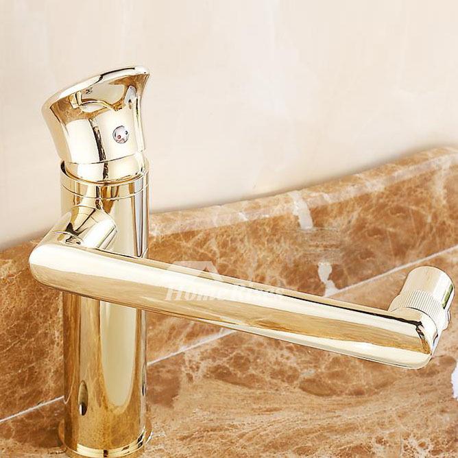 Gold Tone Bathroom Faucets Rotatable Single Handle Centerset