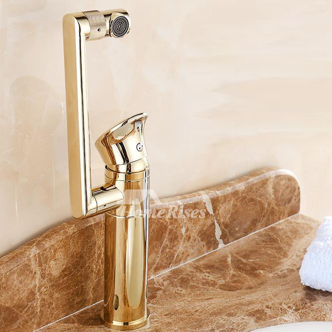 Gold Tone Bathroom Faucets Rotatable Single Handle Centerset
