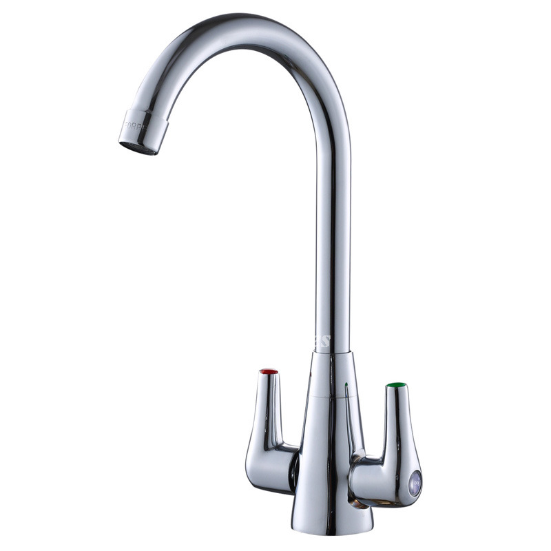 Gooseneck Kitchen Faucet 2 Handle Centerset Silver One Hole Electroplated
