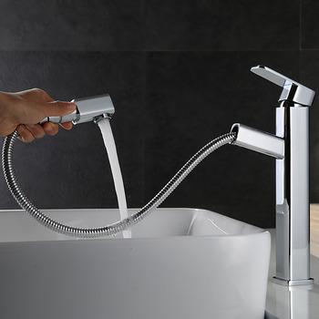 Superieur Unique Bathroom Faucets Pull Out Spray Vessel Single Hanle Chrome Brass