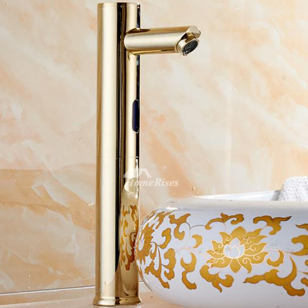 Touchless bathroom faucet gold polished brass hands free battery best for Polished gold bathroom faucets