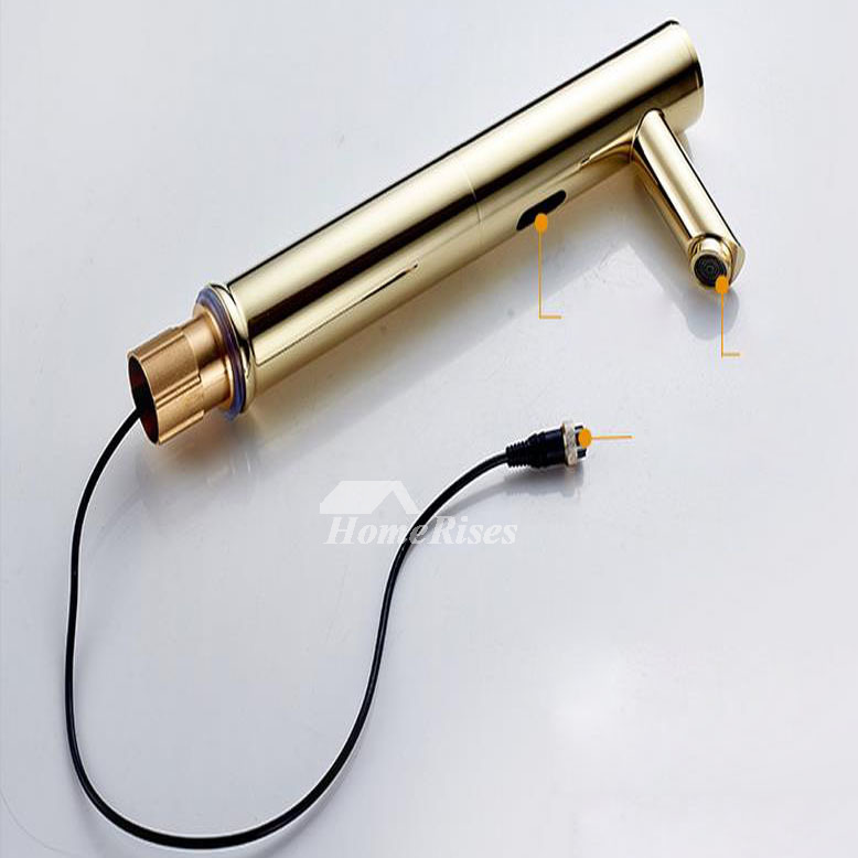 Touchless Bathroom Faucet gold polished brass hands free ...