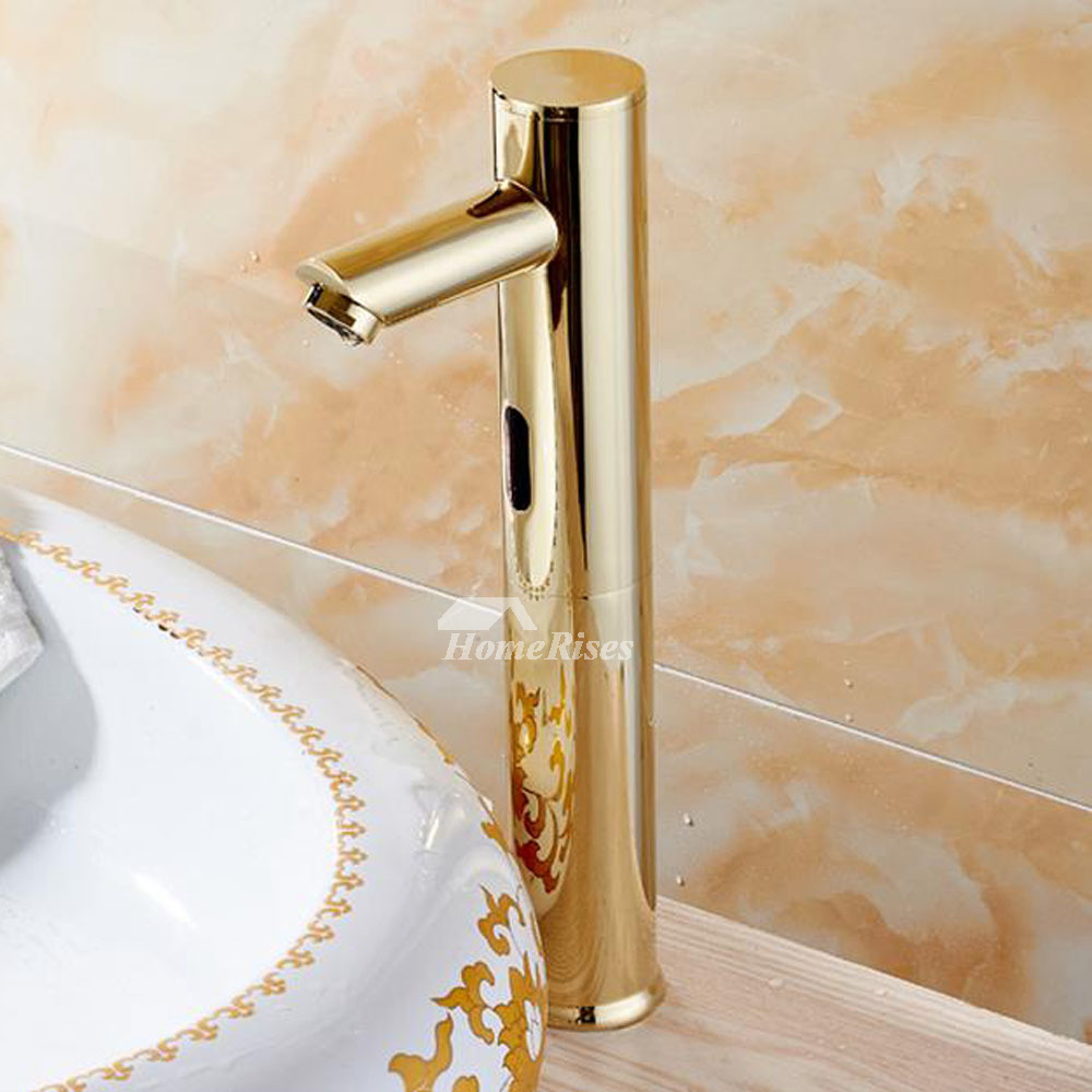 Touchless Bathroom Faucet Gold Polished Brass Hands Free