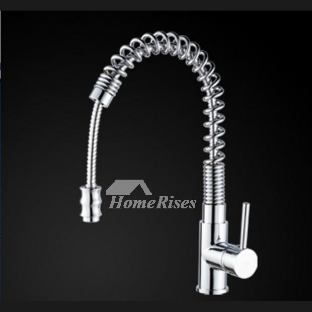 Coiled Kitchen Faucet Gooseneck Rotatable Pull Out Sprary Silver Chrome