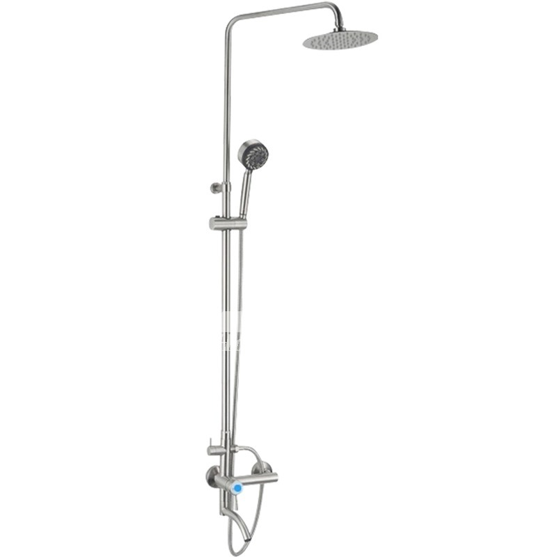 Silver Shower Faucets Contemporary Single Handle Stainless Steel