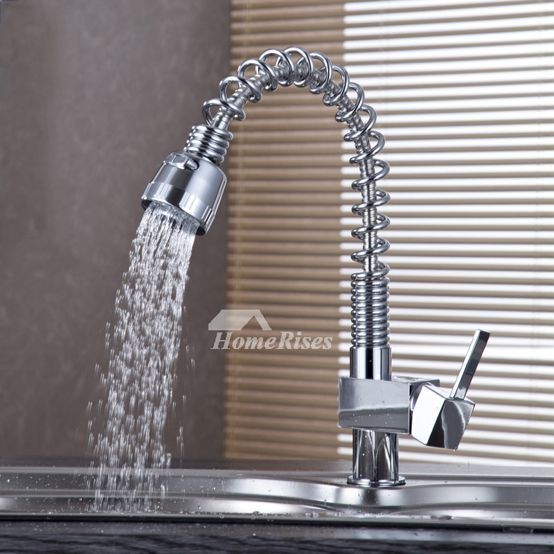 Coiled Kitchen Faucet Rotatable Single Handle Silver Brass Chrome
