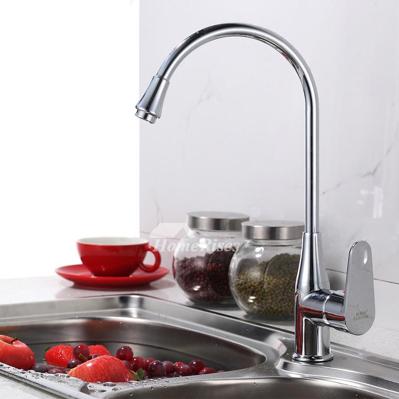 Hole Kitchen Faucet Gooseneck Silver Chrome Brass 1 Handle