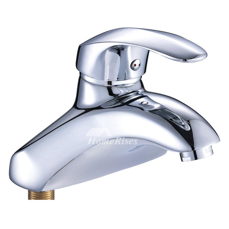 Silver Bathroom Faucets Single Hanle One Hole Vessel Chrome Modern