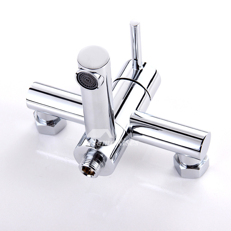 Wall Mount Tub Faucet Water Efficient Silver Two Holes 1