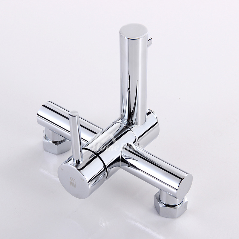 Wall Mount Tub Faucet Water Efficient Silver Two Holes 1 Handle Chrome