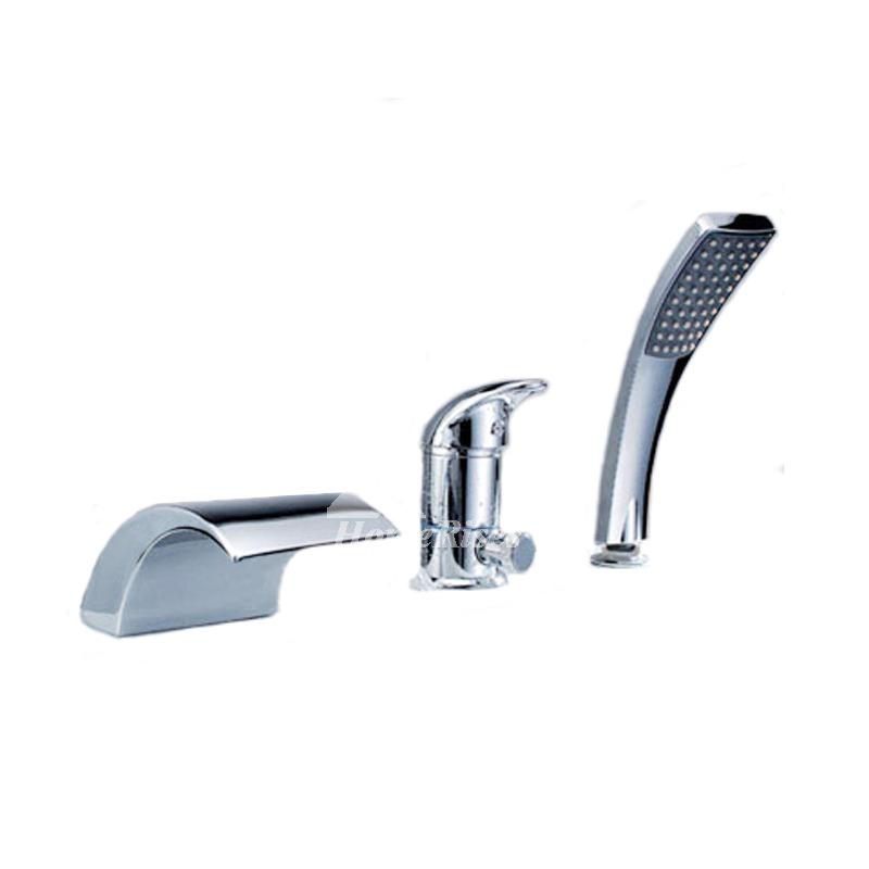 Waterfall Tub Faucet Roman Silver Bathroom 3-Piece Brass Chrome