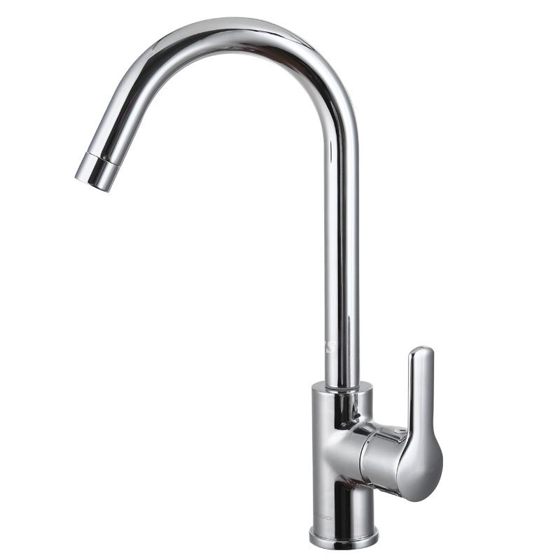 High Flow Kitchen Faucet Gooseneck High Arc Modern Single Handle